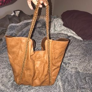 Brown tote with gold hardware